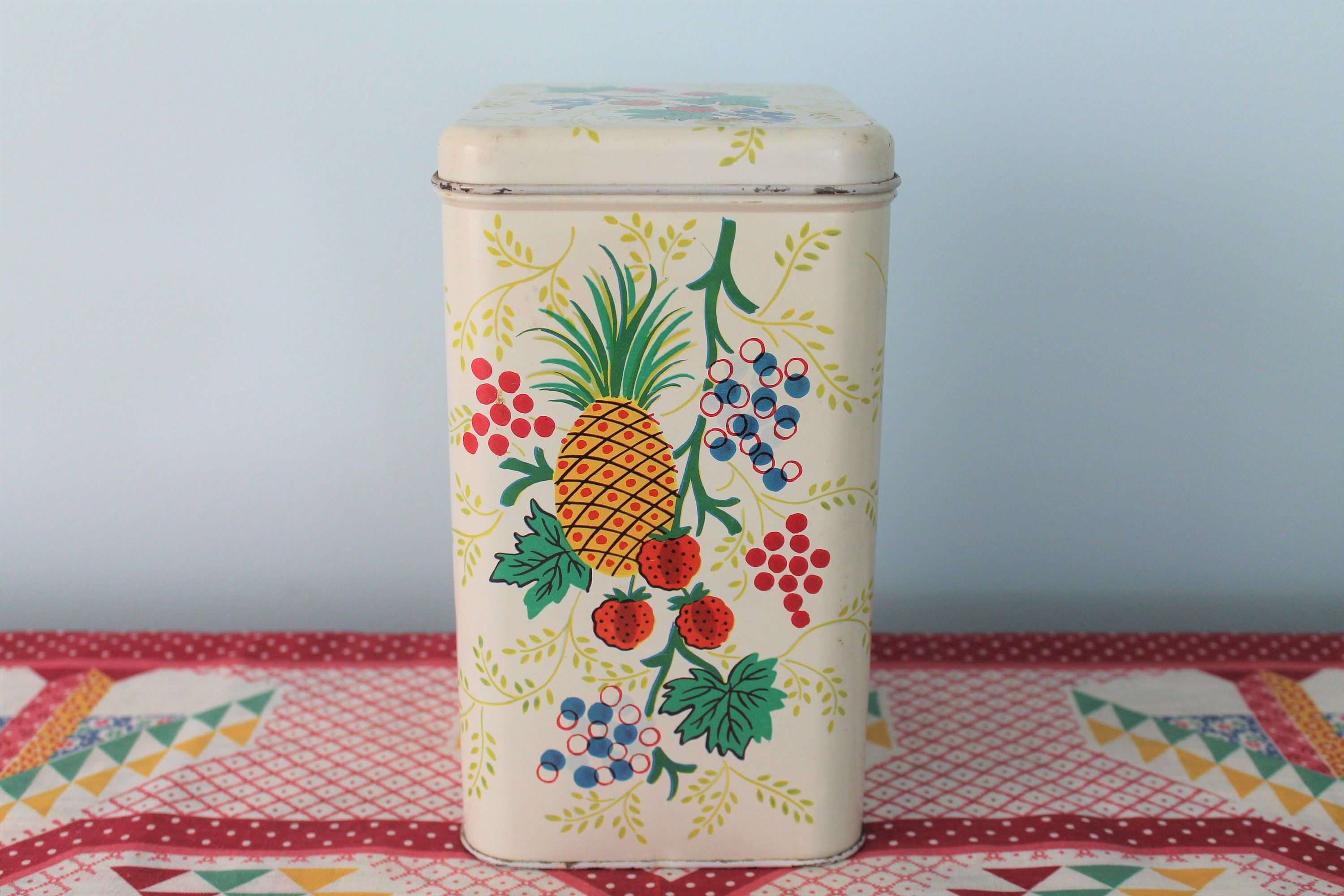 Retro Cheinco Tin Canister Kitchen Container. Vintage, Mid-Century ...