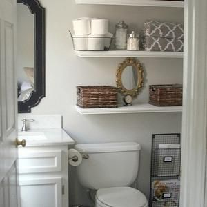 Small Bathroom Makeover   Love The Floating Shelves And Storage Next To The  Toilet Half Bath Idea