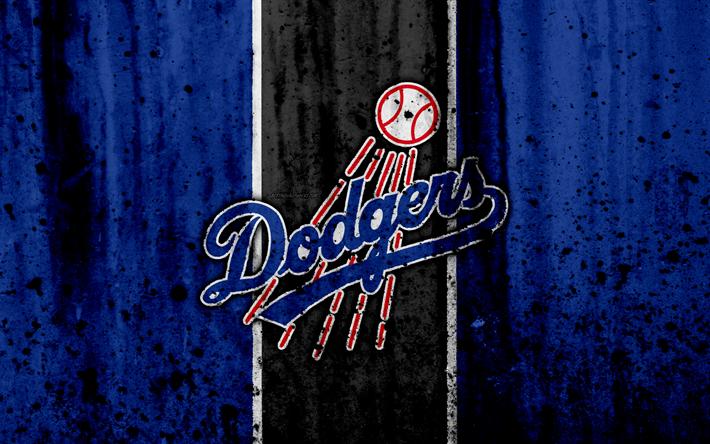 Download wallpapers 4k, Los Angeles Dodgers, grunge