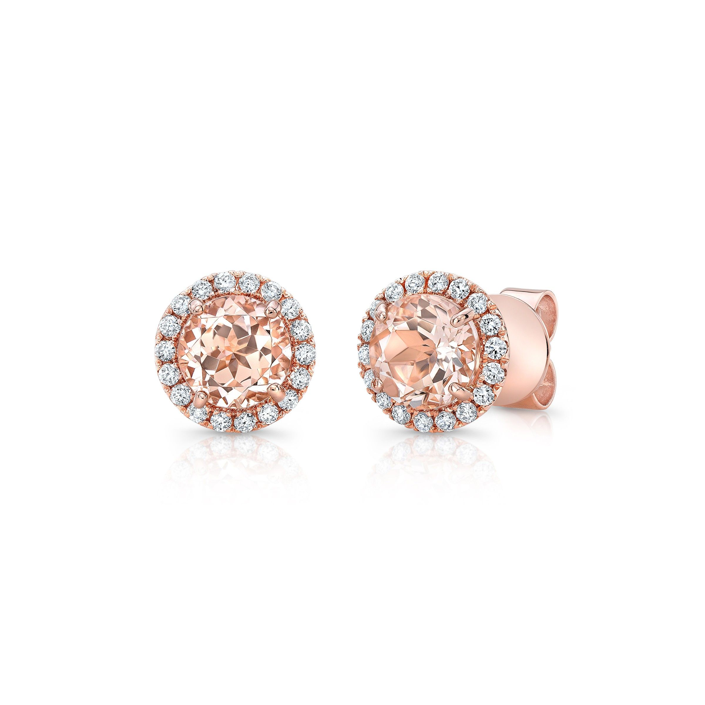 Lovely morganite earrings set in 14k rose gold and surrounded by