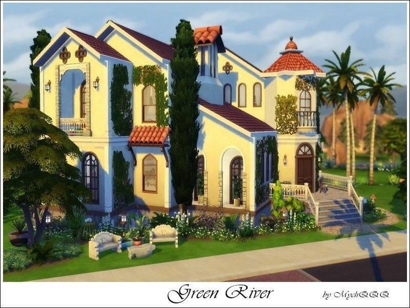 Utterly Fabulous Mansion Featuring Three Bedrooms Two Bathrooms And Many Perks Green River Is A Huge Mediterranean Mansion Sims 4 The Sims 4 Lots Sims House