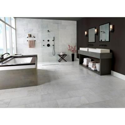Msi Greecian White 12 In X 24 In Polished Marble Floor And Wall Tile 10 Sq Ft Case Thdvenwht1224 The Home Depot White Marble Bathrooms Marble Floor Bathroom Interior Design