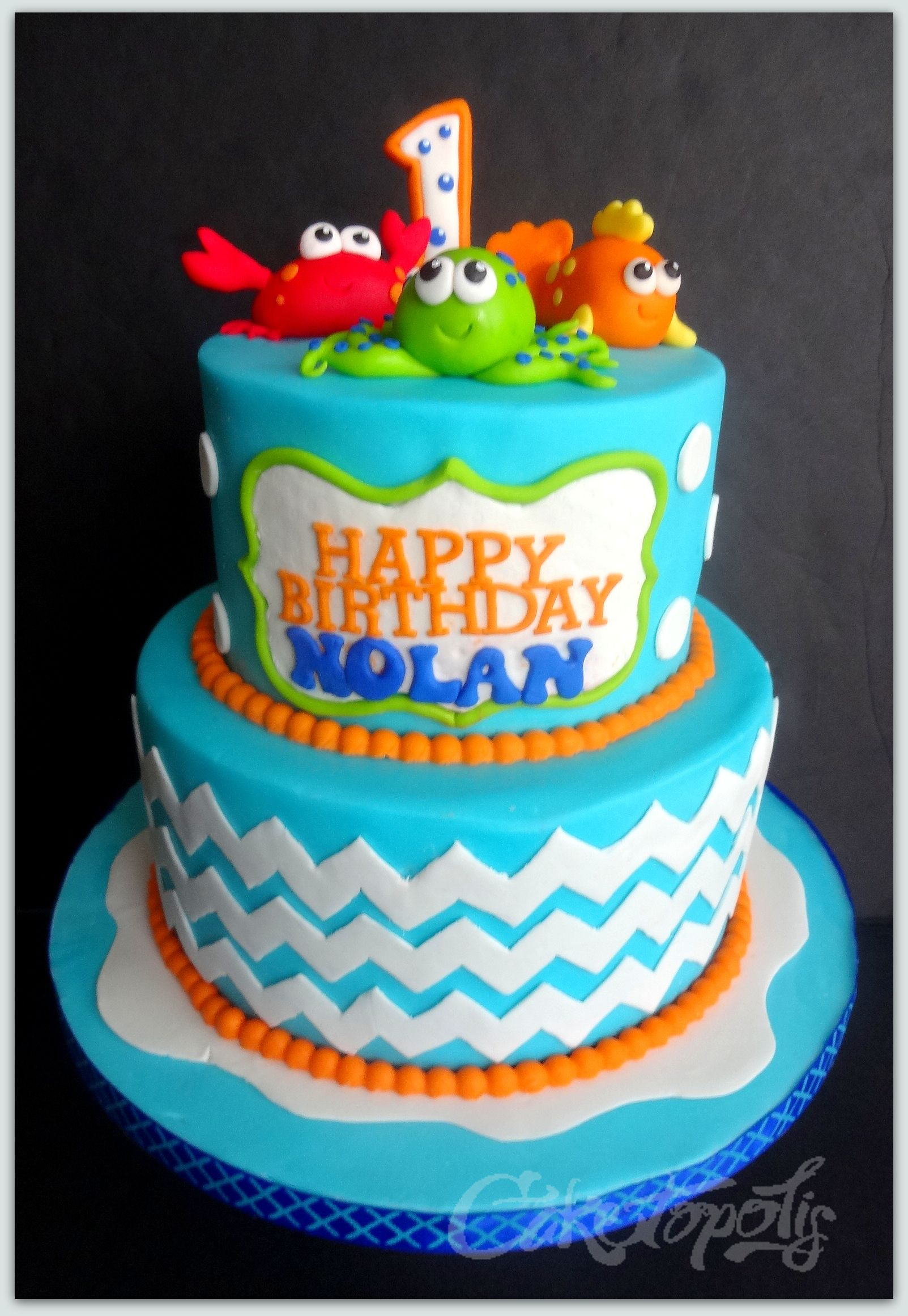 Under The Sea First Birthday Cake First Birthday Cakes First Birthday Cakes Boy Birthday Cake Sea Birthday Party