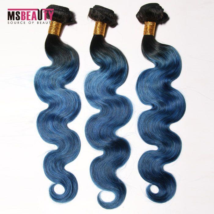 Msbeauty Brazilian Hair Grade 7A color 2T 1B/BLUE# Body Wave Hair ombre human Hair Extension