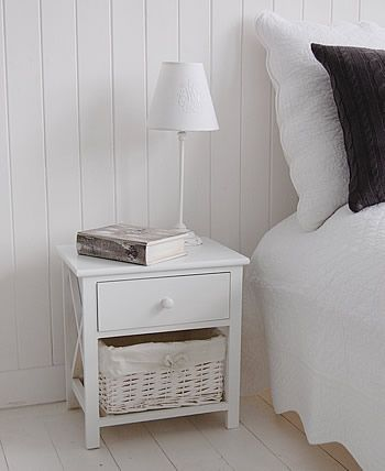 Best Small White Bedside Table With Basket Storage And Drawer 400 x 300