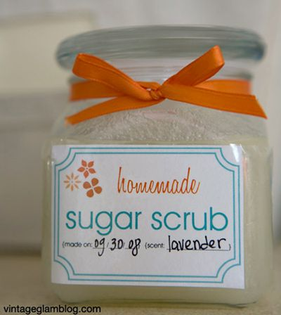 A bunch of Sugar Scrub recipes! and some cute packaging too!