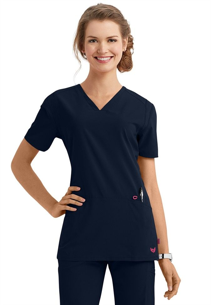 43360e3d4cc Smitten Magic Rock Goddess v-neck scrub top in Navy | Scrubs and Beyond