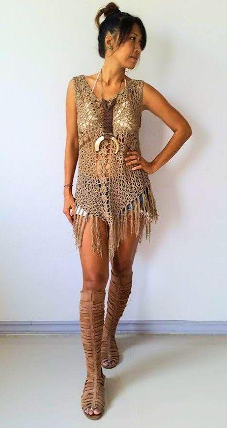d70570059 Cross Crochet Boho Dress with long Fringe/ White, Beige,Brown ...