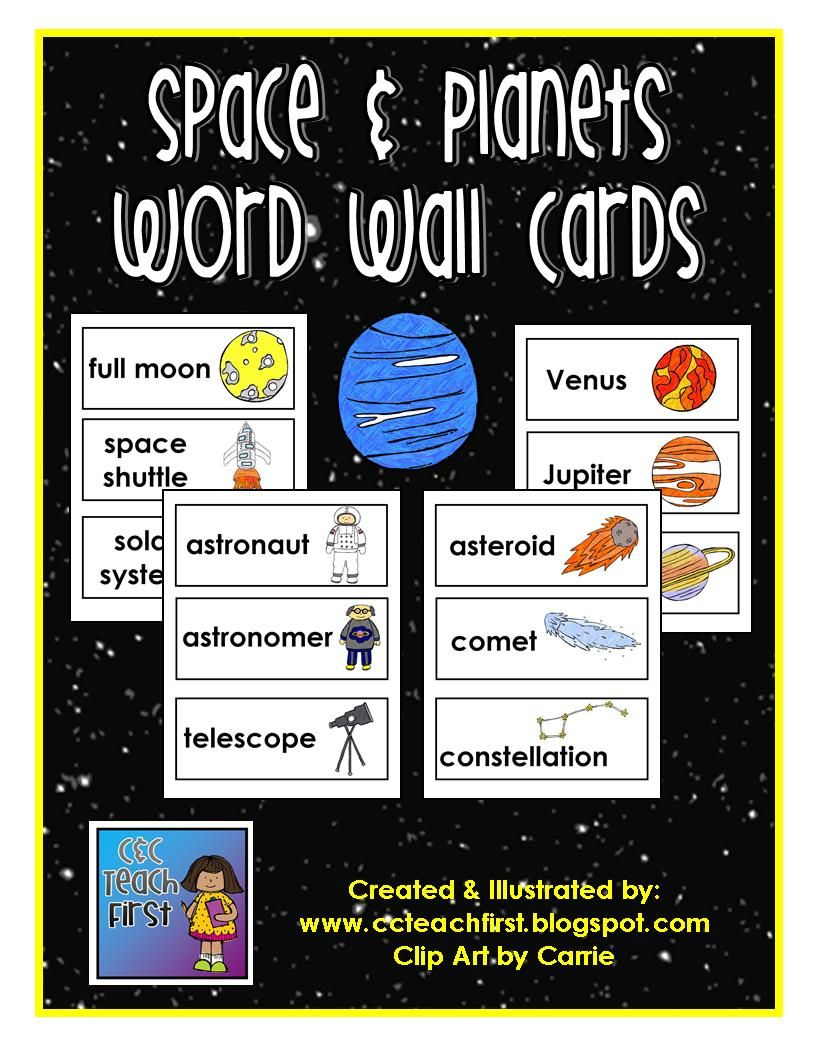 Space Planets Word Wall Vocabulary Cards