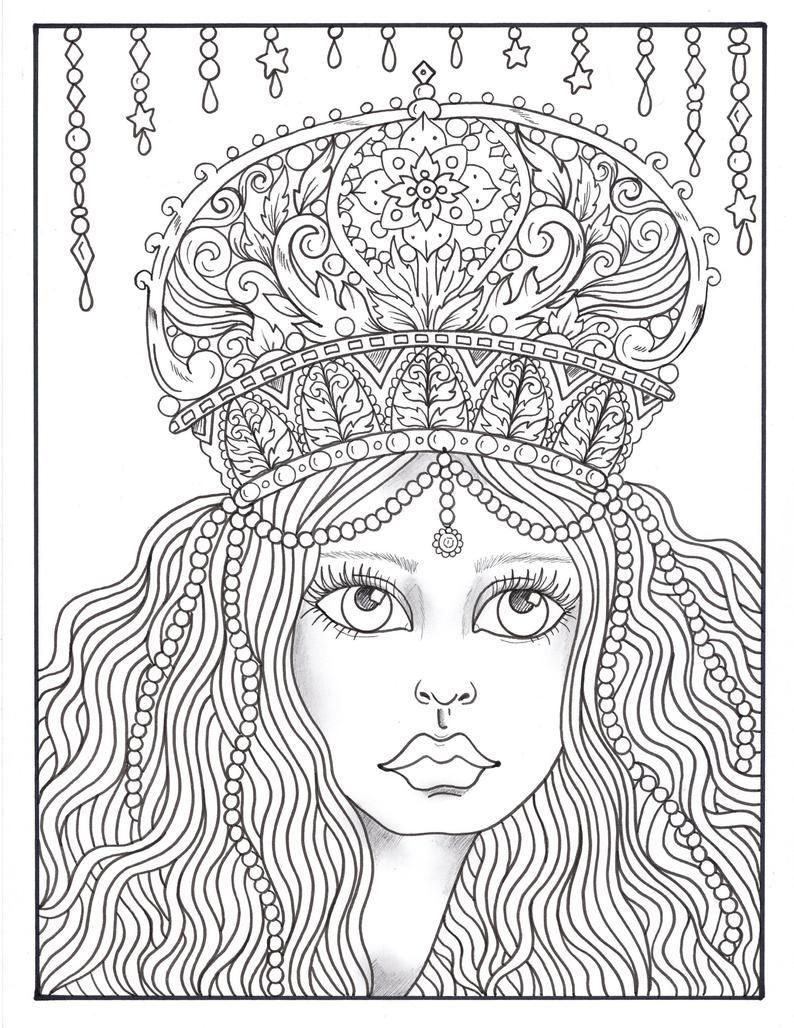 Crowned Fantasy Queens Coloring Book Digital Instant Etsy In 2021 Coloring Book Art Coloring Books Fantasy Queen