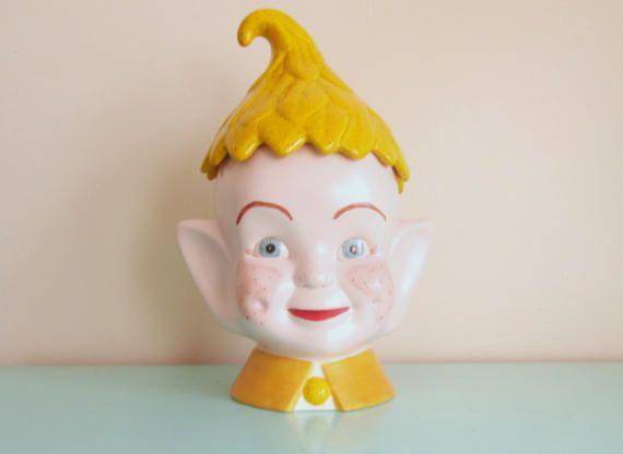 Elf Pixie Cookie Jar Ceramic Hand Painted Mid Century