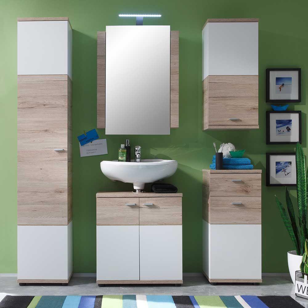 Badezimmer design weiß badezimmer komplettset mit spiegel eiche dekor weiß teilig jetzt