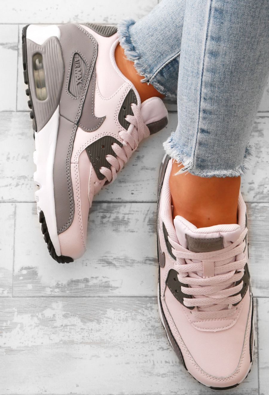 designer fashion f410f 6035a Nike Air Max 90 Grey and Rose Trainers   Pink Boutique