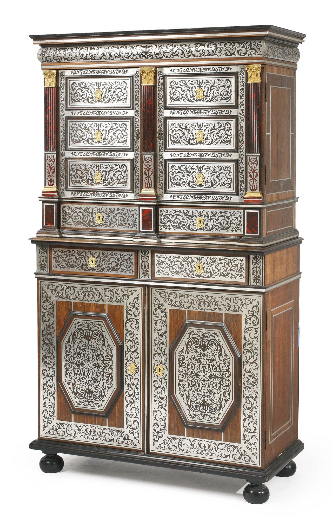 a louis xiv ormolu mounted pewter and tortoiseshell inlaid kingwood and ebony cabinet en armoire. Black Bedroom Furniture Sets. Home Design Ideas