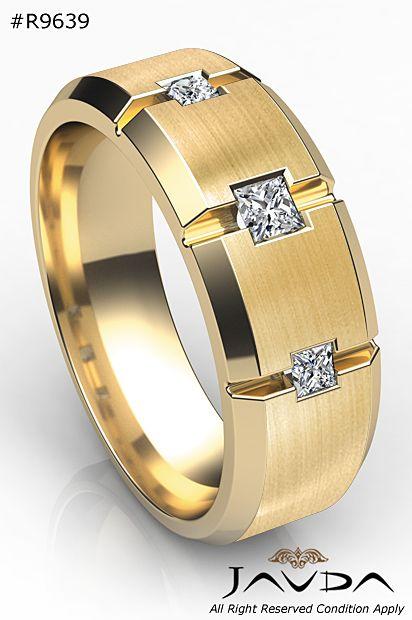 9mm Mens Half Wedding Band 3 Stone Princess Diamond Ring 14k Yellow Gold 0 30ct