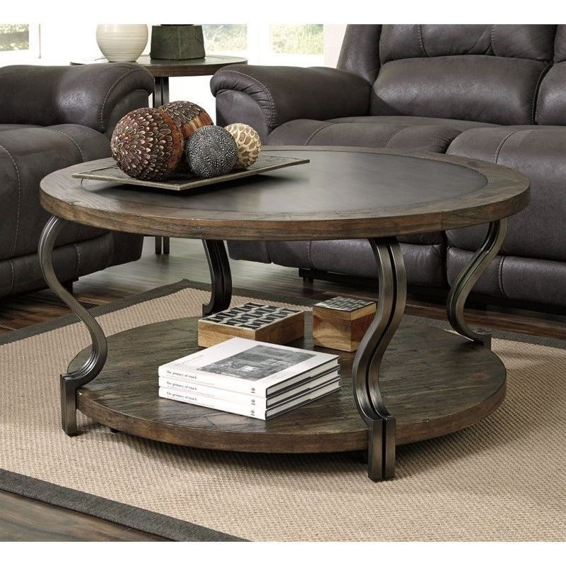 Ashley Volanta Round Coffee Table With Metal Inset In Caramel - Ashley metal coffee table