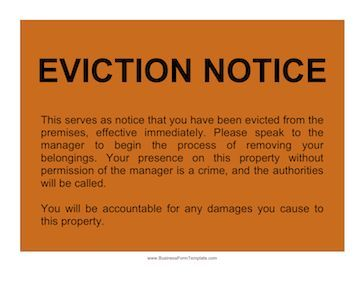 Orange Sign With A Notice Of Eviction Written Upon It Free To Download And Print Eviction Notice Plan For Life Orange Sign
