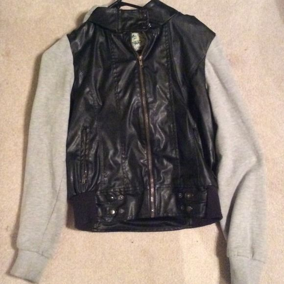 Pleather/sweater Jacket Sleeves/hood are sweater like and the front and back are pleather. Very cute and have been in style for the longest time! Jackets & Coats