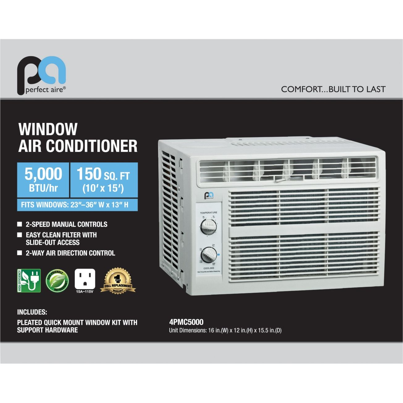 Perfect Aire 5000 BTU Window Air Conditioner (4PMC5000