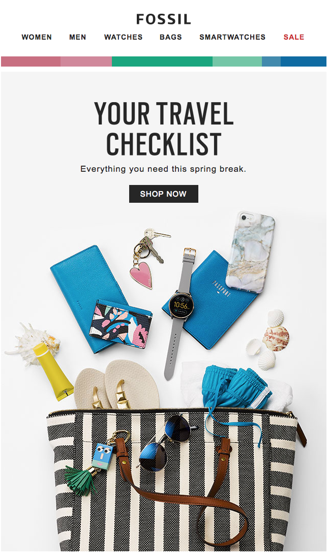 Your Travel Checklist Spring Break Essentials Fossil Newsletter Design Emai Email Design Inspiration Email Marketing Design Email Marketing Inspiration