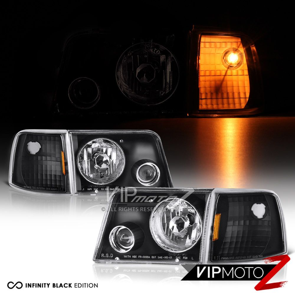 1993 1994 1995 1996 1997 Ford Ranger Black Projector Headlights Corner Signal Carros E Caminhoes Ford Ranger Pecas De Carro