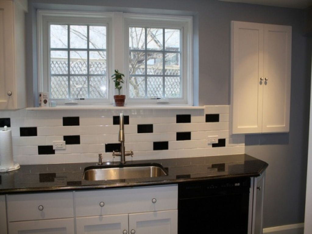 Kitchen Classic Black And White Subway Tile Backsplash Ideas For Small With  Glass Insert From