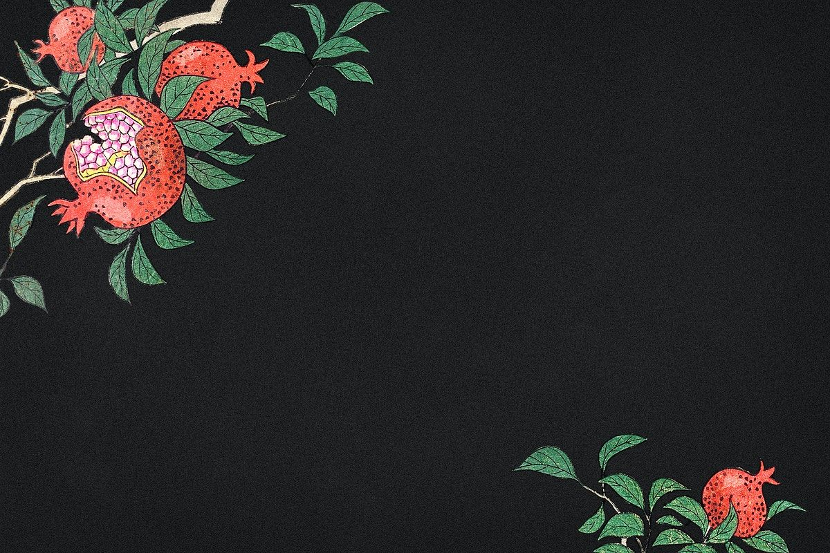 Download premium illustration of Pomegranate on a branch ...