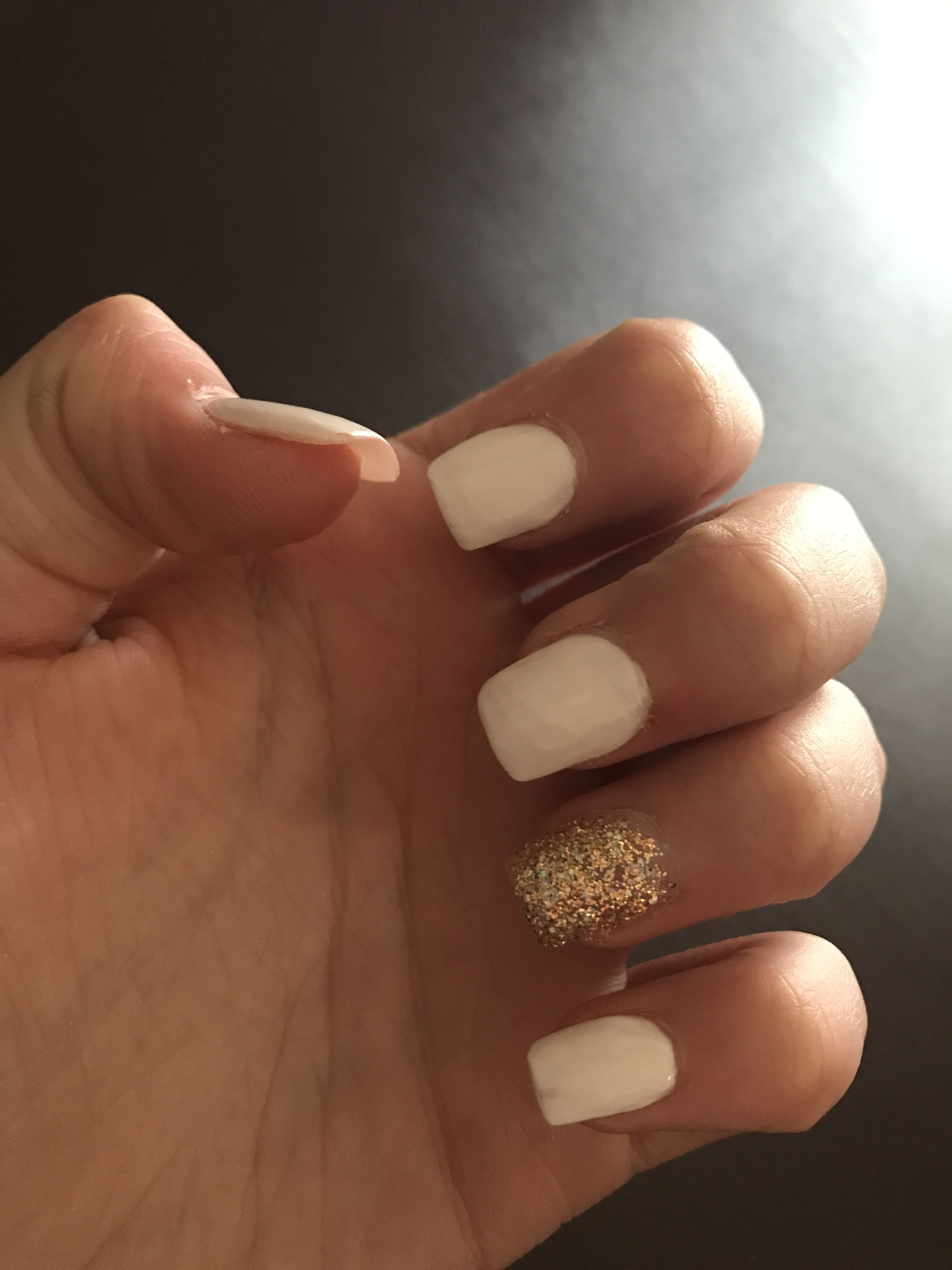 Acrylic Short To Medium Length Square Shape White With Gold Ring Finger Nails Acrylic Nails Nail Designs
