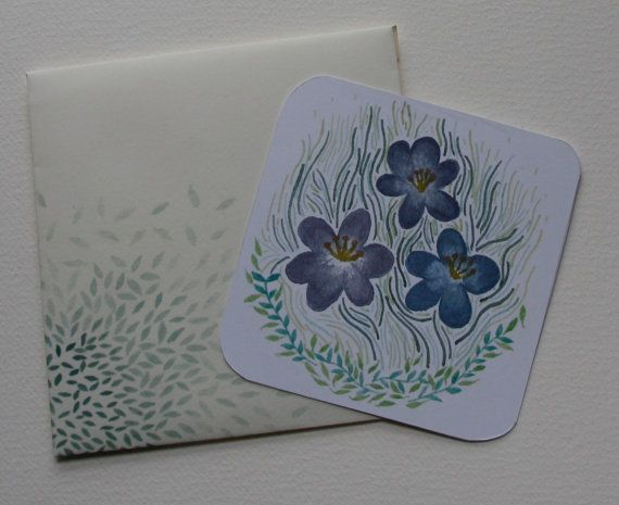 Mini message card with printed water colour di Abstractales
