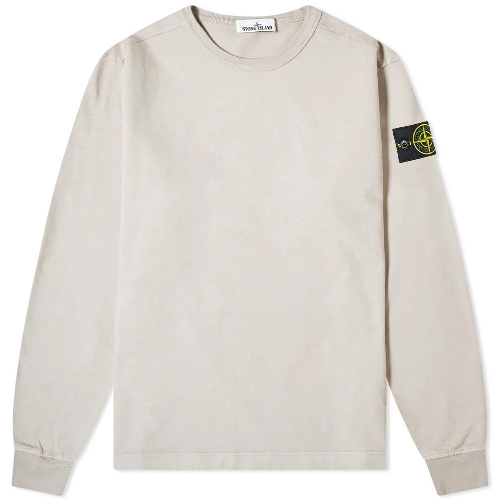 Stone Island Garment Dyed Crew Lightweight Sweat Garment Dye Long Sleeve Tshirt Men Stone Island [ 1000 x 1000 Pixel ]