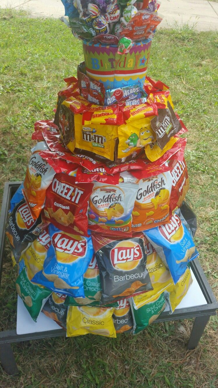 Pin By Natasha Grimes On Birthday Junk Food Tower Cake Idea Candy
