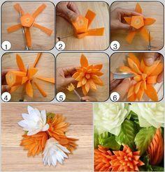 fiori fatti con le carote