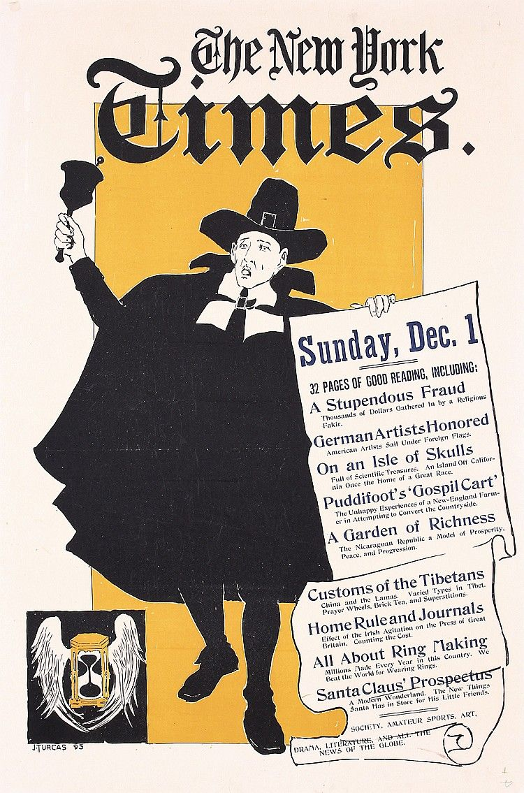 Old Original 1890s New York Times Advertising Poster