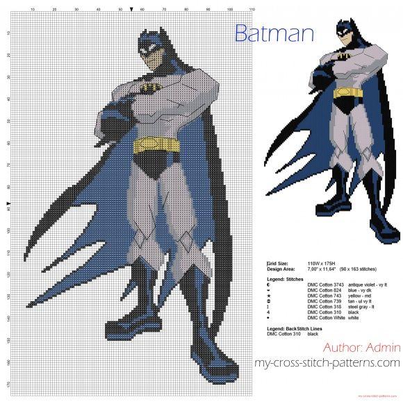 Batman gratis korssting mønster downloade