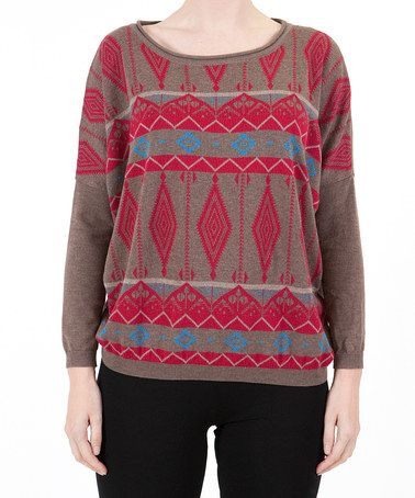 Take a look at this Brown Tribal Sweater by Lavand on #zulily today!