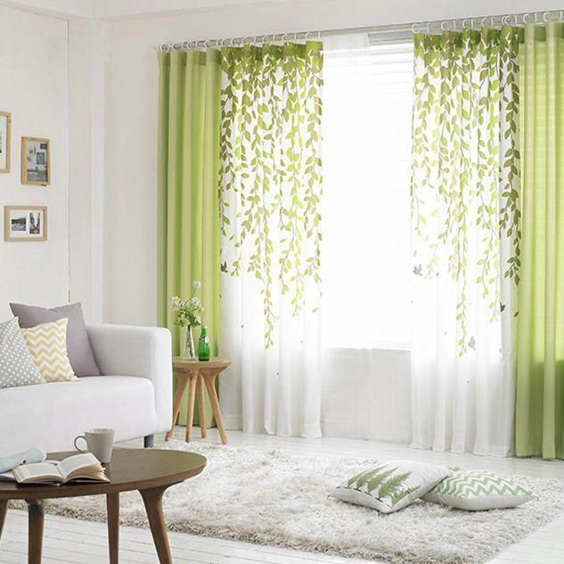Lime Green And White Leaf Print Poly/Cotton Blend Country