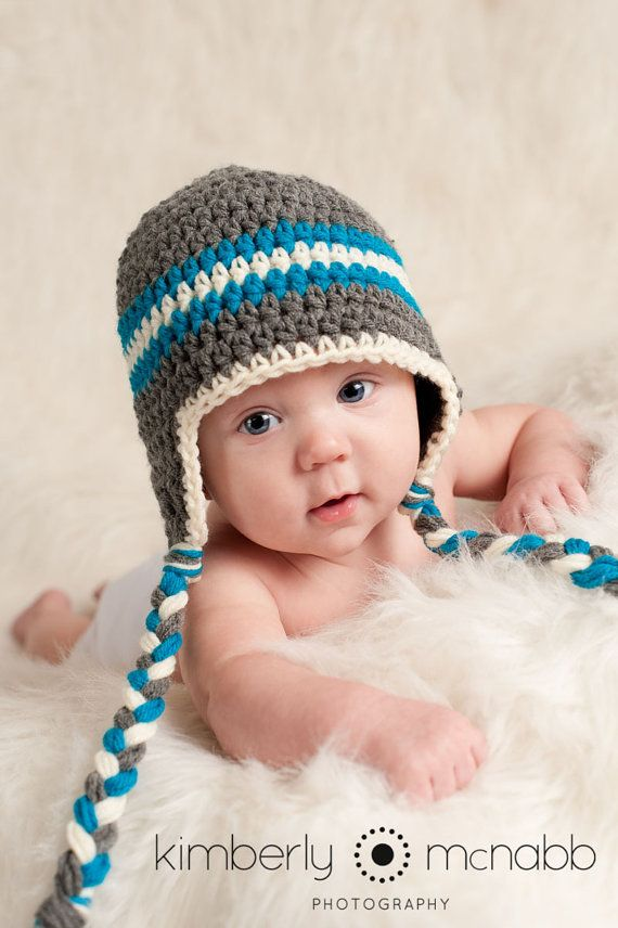 Crochet Baby Hat - Baby Boy - Baby Hat - Ear Flap Hat - Baby Boy Hat - Ready  to Ship - Newborn Prop - Grey Turquoise Off-White - 1-3 Months on Etsy d6df7571d9dd