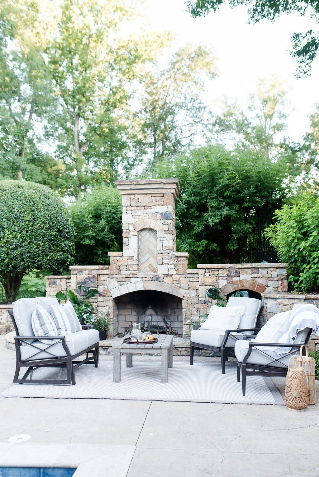 Outdoor Fireplace Furniture Rocker Glider Chairs And Love Seat By