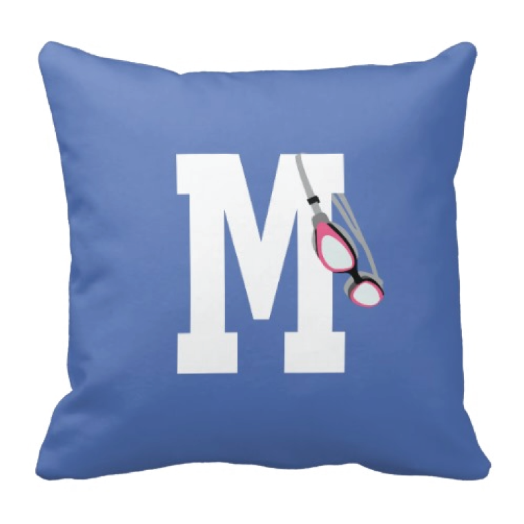 Swimmers Goggle Throw Pillow with Monogram Initial for Girls and Boys - Swimming - Swim Team - Preppy Sports Gift for Teens and Kids - White, Periwinkle Blue, Bubble Gum Pink