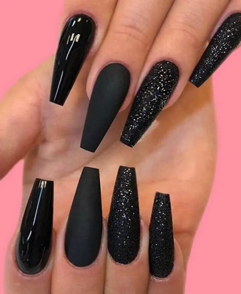 25 Matte Black Coffin Nail Ideas Trend In Cool 17 Long Black Nails Black Nail Designs Black Coffin Nails