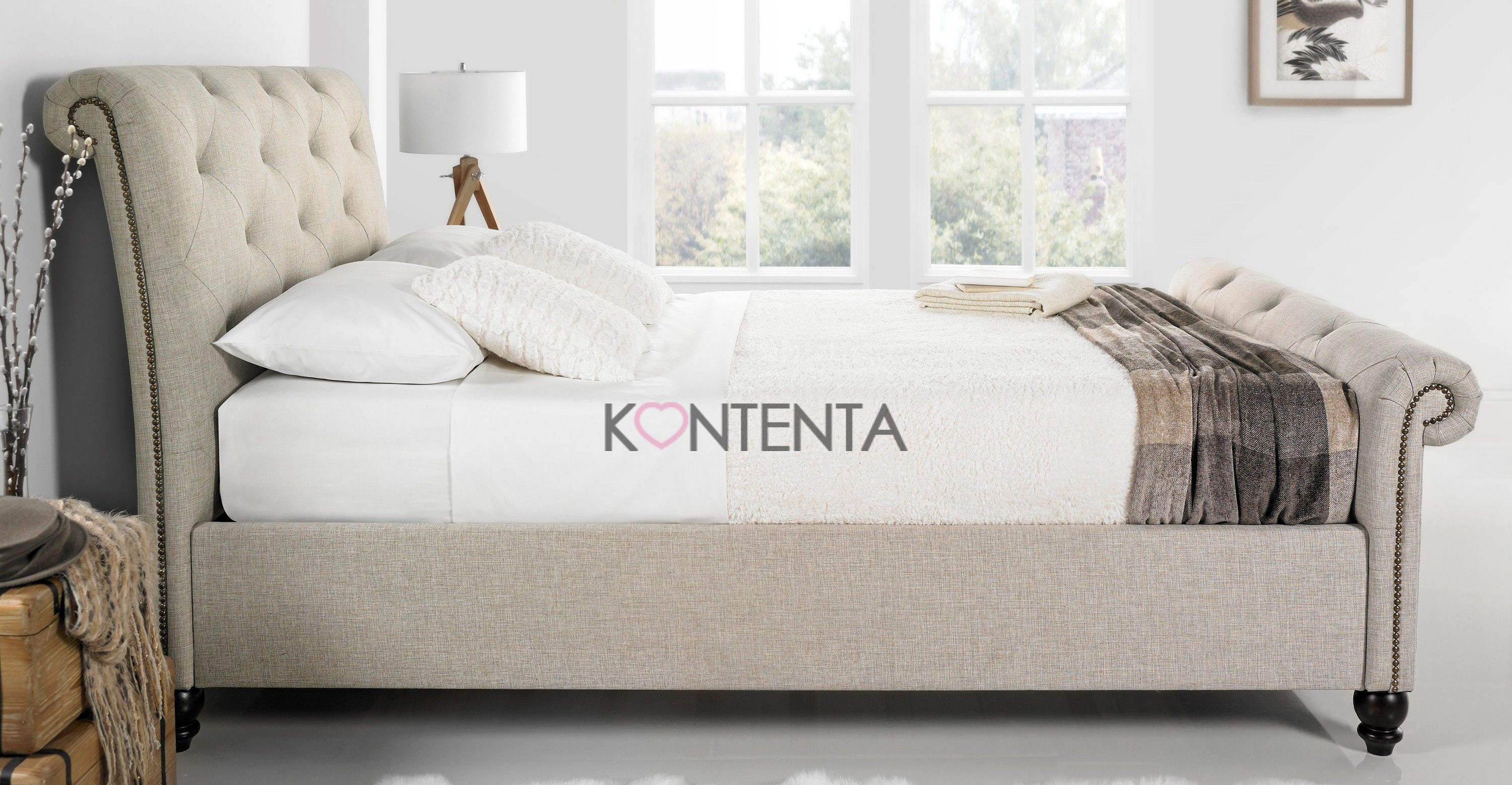 A luxury and appealing piece, the Belford oatmeal fabric bedframe by ...