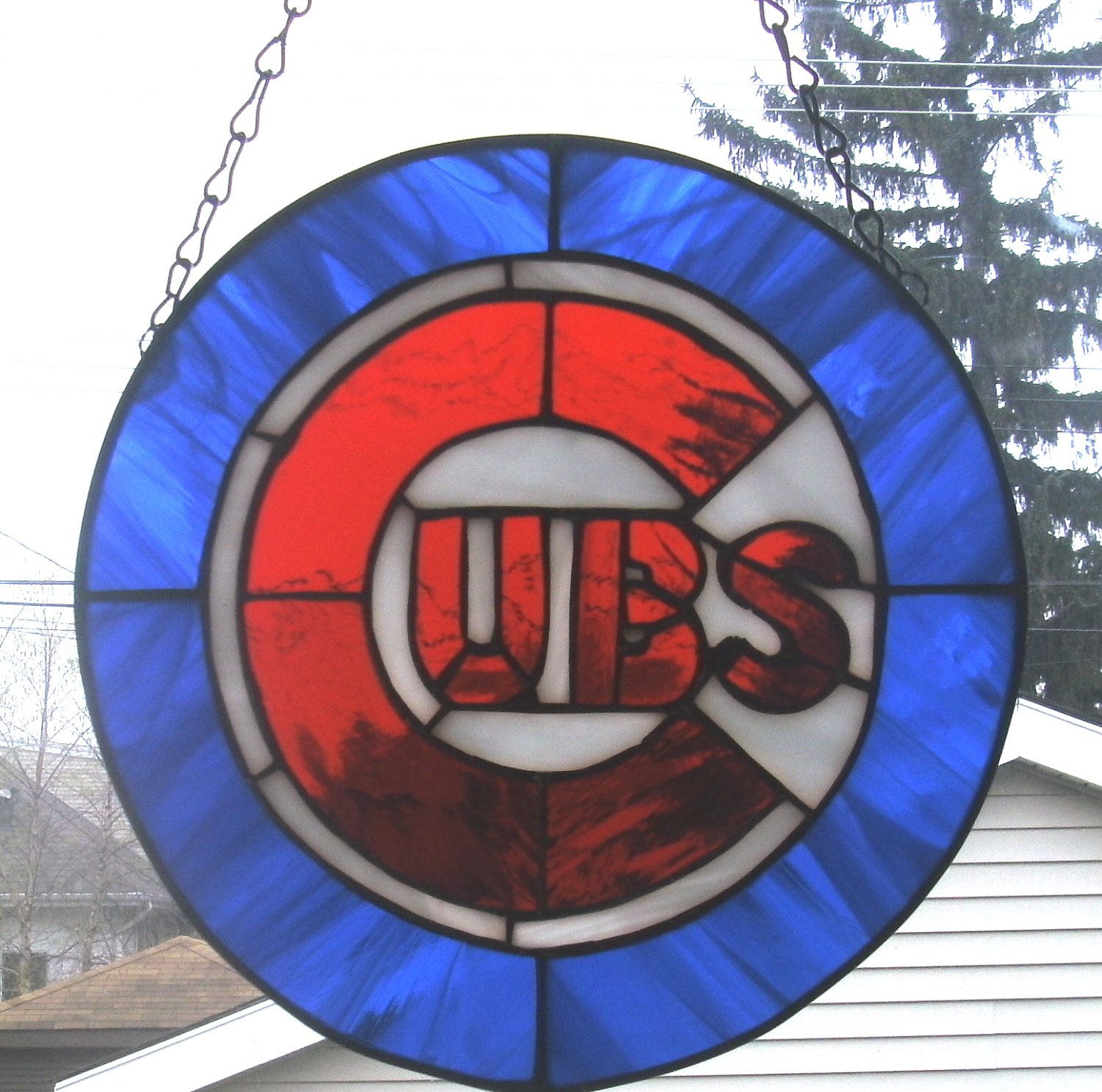 Chicago Cubs Stained Glass Suncatcher Panel Chicago Cubs Stained Glass Patterns Glass Art Projects