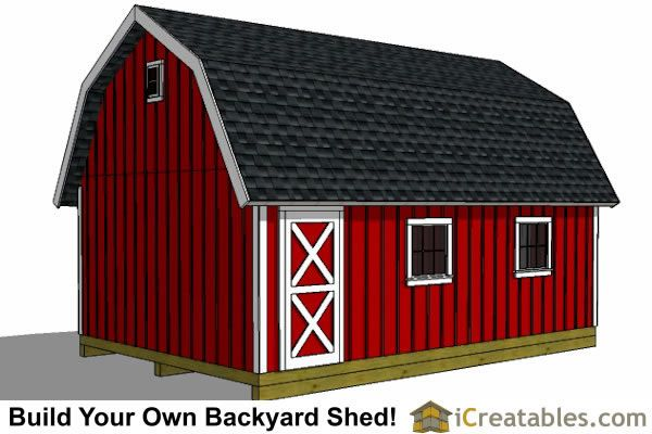 10x20 Gambrel Shed Plans Rear View Cool Ideas Pinterest Shed