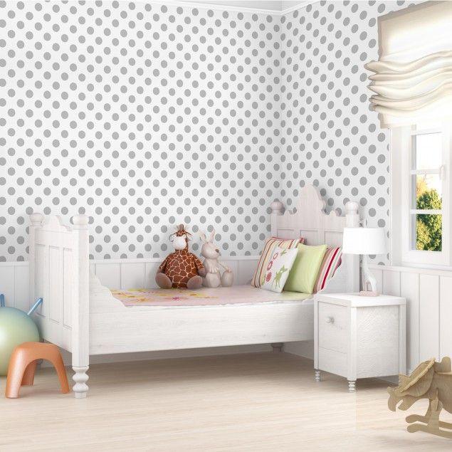 kindertapeten vliestapeten punkte grau auf wei. Black Bedroom Furniture Sets. Home Design Ideas