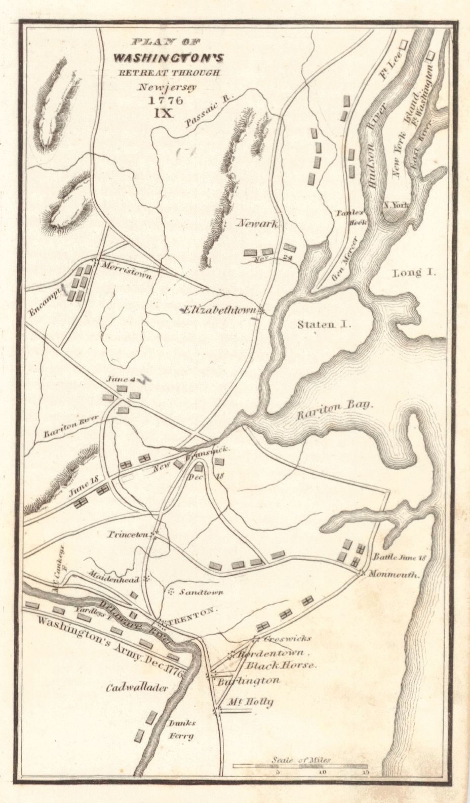 Plan Of Washingtons Retreat Through New Jersey Anonymous - New york jersey map