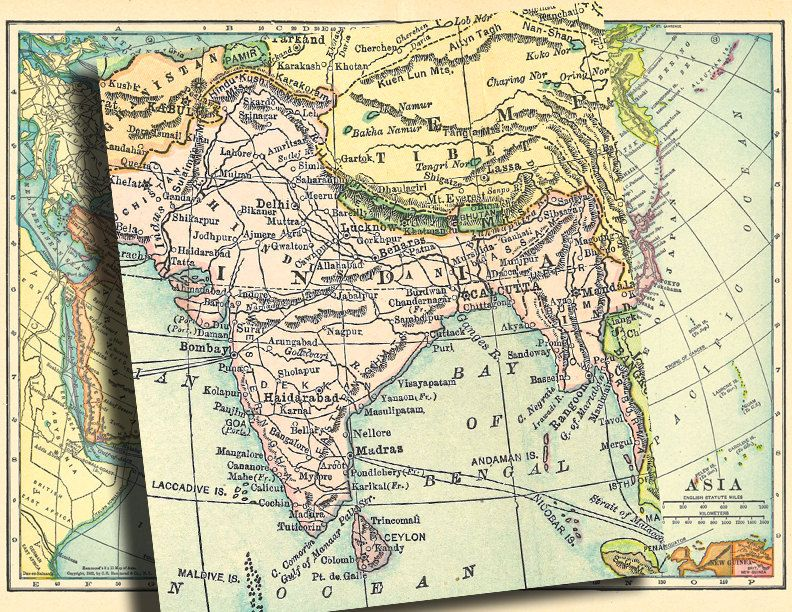 old map of Asia a vintage printable digital map no 757  Old