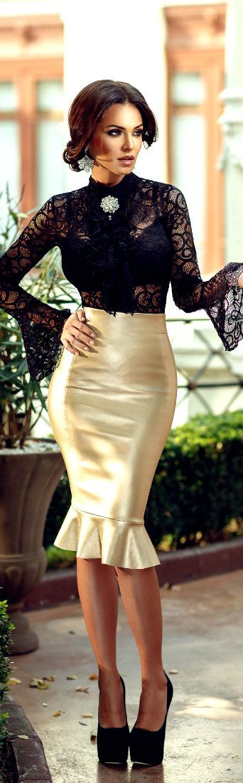 Gold Satin Pencil Skirt Sheer Black Lace Blouse and Black Ankle Strap High Heels