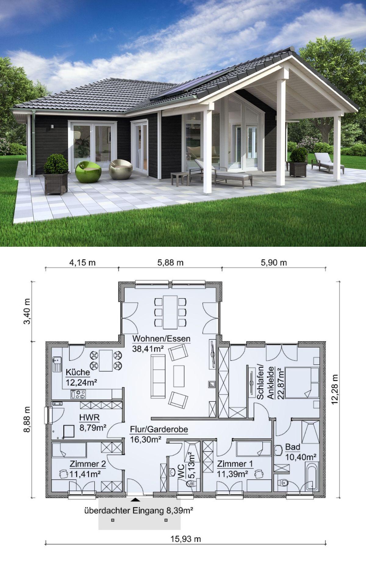 Winkelbungalow im landhausstil skandinavisch mit holz for Haus bauen plan