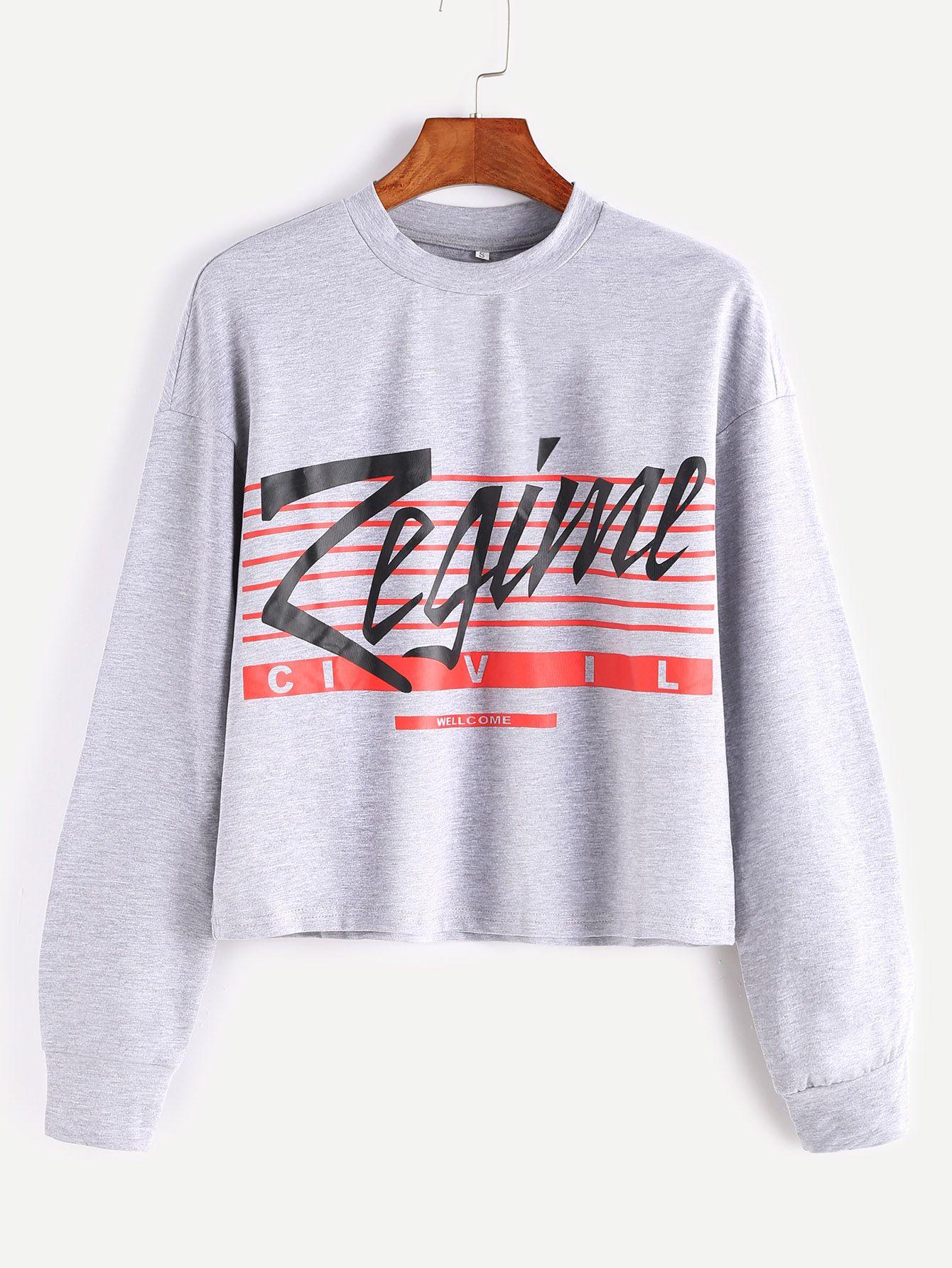 Heather Grey Letter Print Crop Sweatshirt — 0.00 € --------------color: Grey size: XS