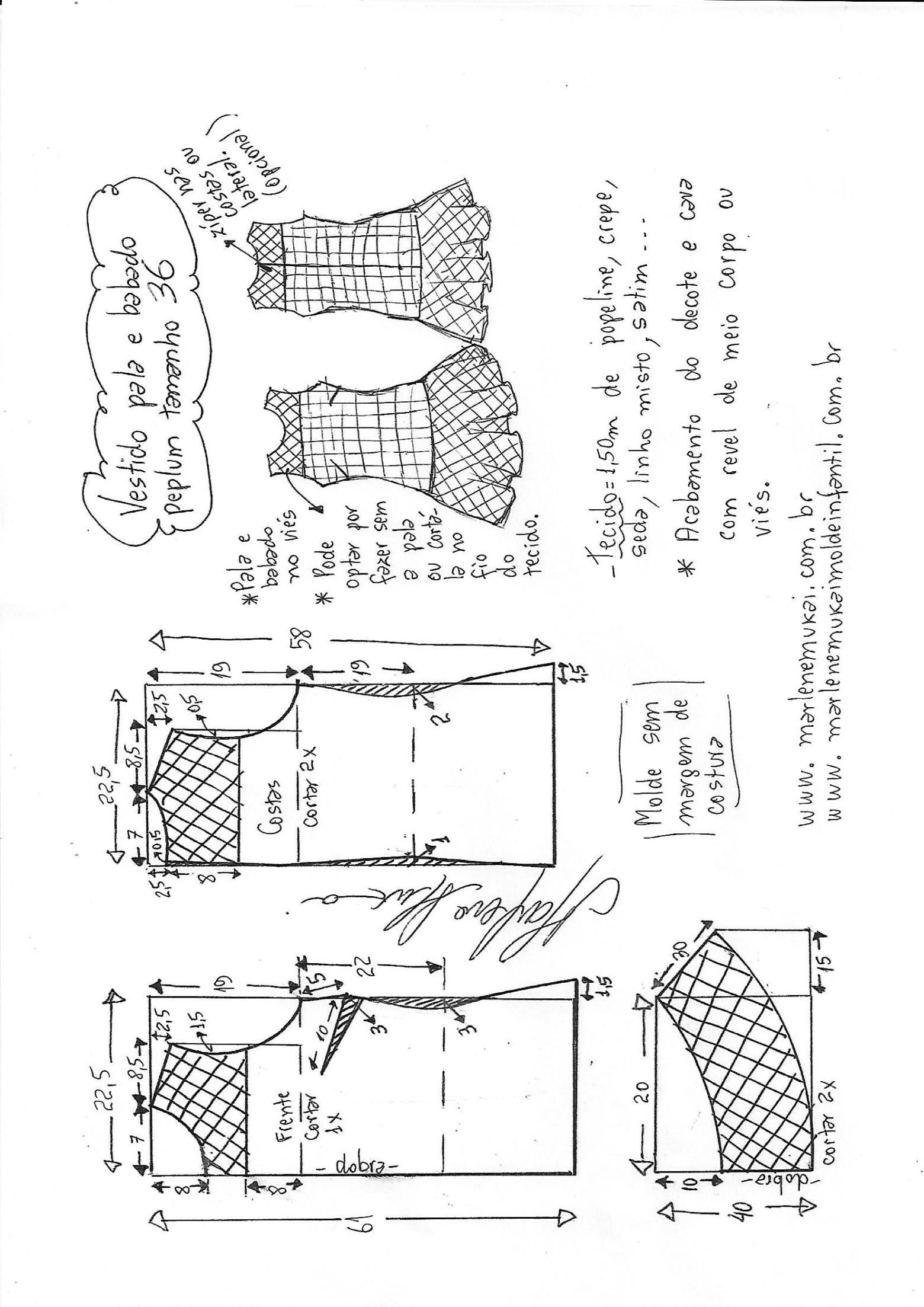 Vestido com pala e babado Peplum | Molde, Costura y Patrones
